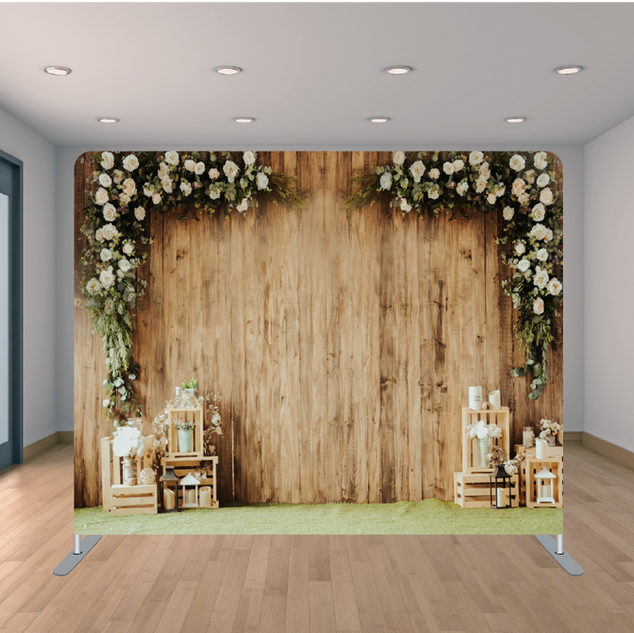 Premium Wooden Flowers Backdrop