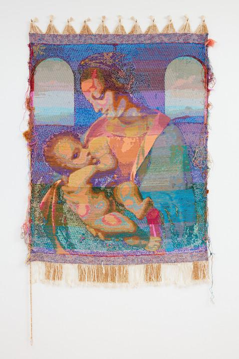 """John Paul Morabito Madonna che allatta (dopo Leonardo da Vinci) 2020 Cotton, wool, glass beads 76""""x 41"""""""