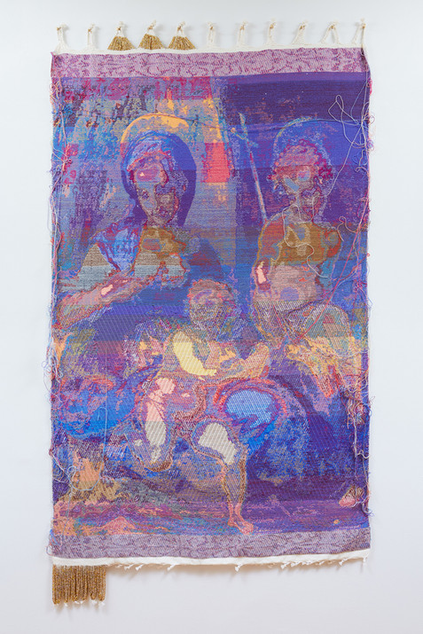 """John Paul Morabito Vergine e bambino con il giovane San Giovanni Battista (dopo Andrea del Sarto) 2018 Cotton, wool, glass beads, gilded masonry nails 76""""x 42"""""""