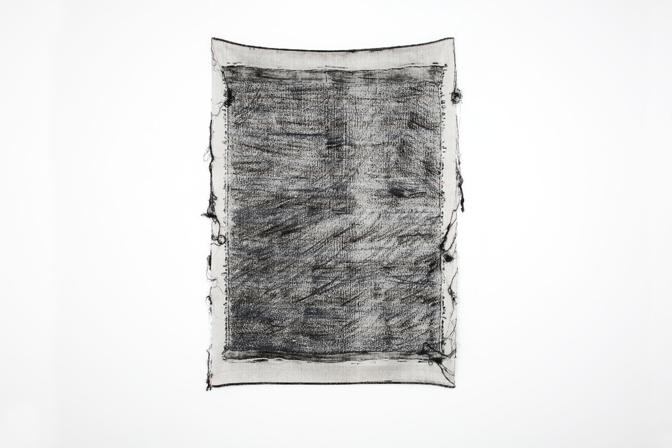 """John Paul Morabito Frottage 069 2018 cotton and wool 57""""x 42"""" Photo Credit: Alex Younger"""