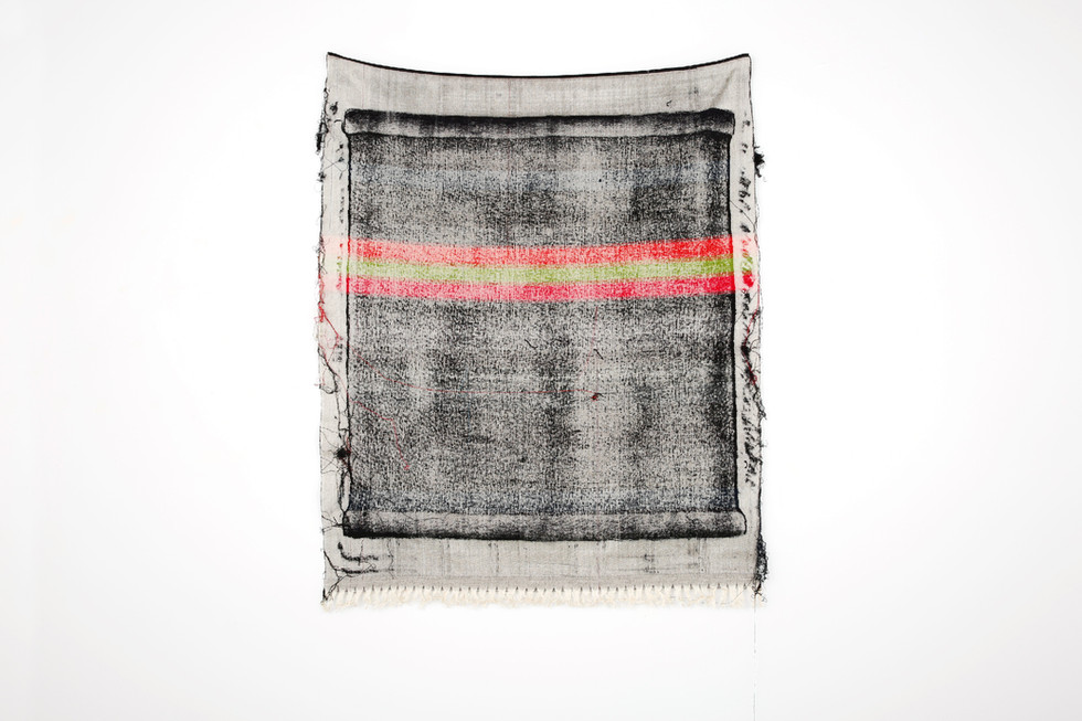 """John Paul Morabito Frottage 054 2017 cotton and wool 53""""x 42"""" Photo Credit: Alex Younger"""