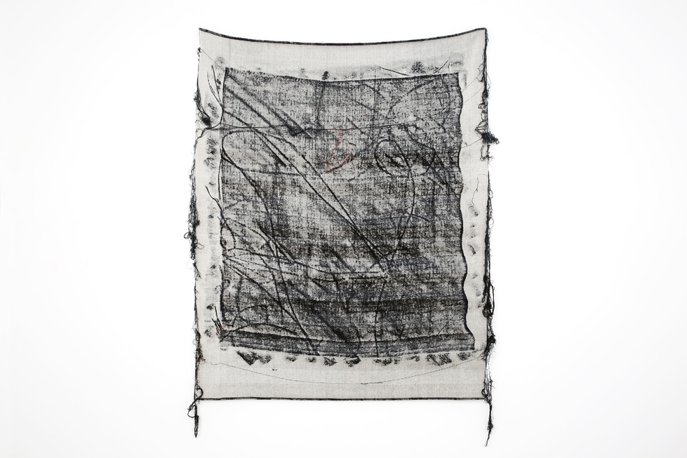 """John Paul Morabito Frottage 071 2018 cotton and wool 53""""x 43"""" Photo Credit: Alex Younger"""