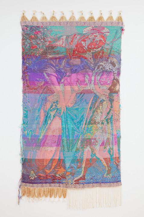 "John Paul Morabito Madonna con bambino e San Giovanni giovane (dopo Sandro Botticelli) 2020 Cotton, wool, glass beads, gilded masonry nails 80""x 41"""