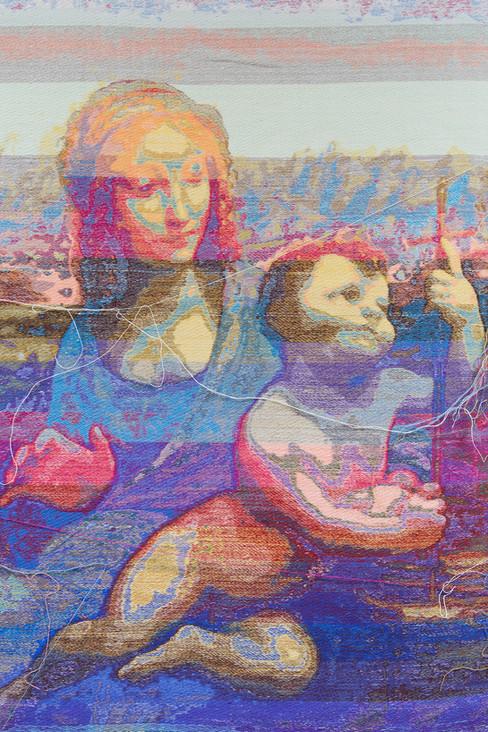"John Paul Morabito Madonna del filatore (dopo Leonardo da Vinci) 2018 Cotton, wool, glass beads, gilded masonry nails 78""x 42"""