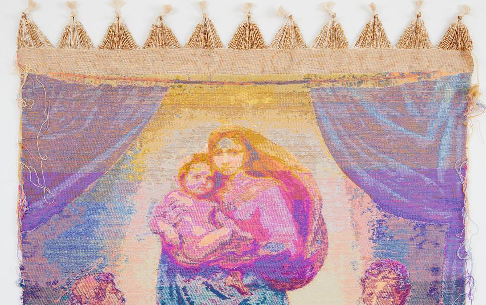 Madonna di San Sisto (dopo Raffaello Sanzio da Urbino), 2020, cotton, wool,  and glass beads