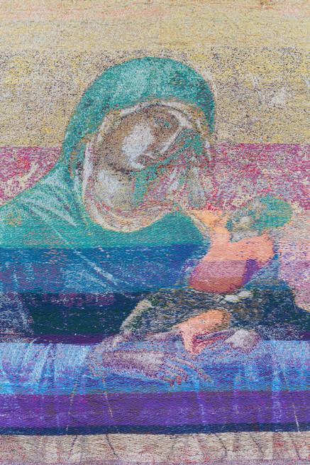 """John Paul Morabito Madonna e bambino (dopo Duccio di Buoninsegna) 2018 Cotton, wool, glass beads, gilded masonry nails 75""""x 42"""""""