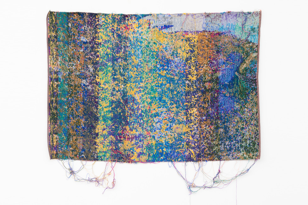 "Laura Letinsky and John Paul Morabito O'en and fill 2017 cotton and wool  41""x 60"""