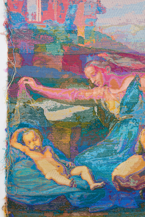 """John Paul Morabito Vergine con il velo (dopo Raffaello Sanzio da Urbino) 2020 Cotton, wool, glass beads 70""""x 42"""""""