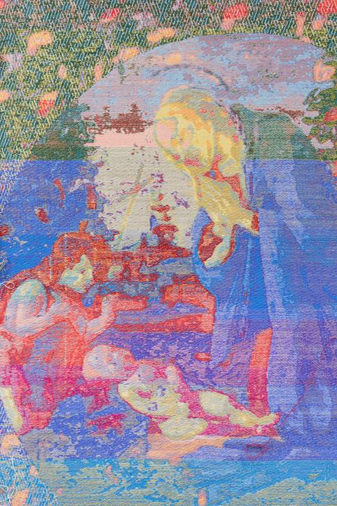 """John Paul Morabito Madonna adorante il bambino con il bambino  San Giovanni (dopo Sandro Botticelli) 2018 Cotton, wool, glass beads, gilded masonry nails 73""""x 42"""""""