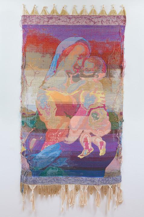 """John Paul Morabito La Madonna dei Tempi (dopo Raffaello Sanzio da Urbino) 2019 Cotton, wool, glass beads, gilded masonry nails 85""""x 42"""""""