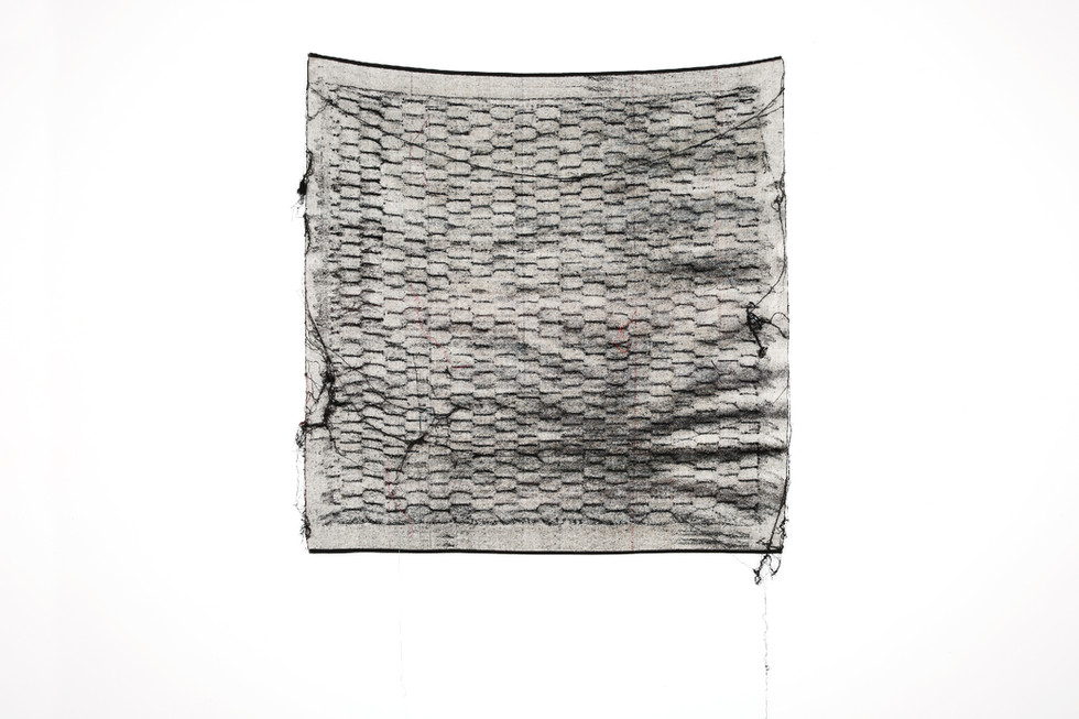"""John Paul Morabito Frottage 057 2017 cotton and wool 42""""x 42"""" Photo Credit: Alex Younger"""