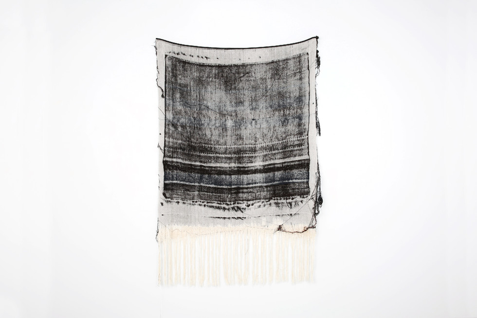 """John Paul Morabito Frottage 068 2018 cotton and wool 62""""x 42"""" Photo Credit: Alex Younger"""