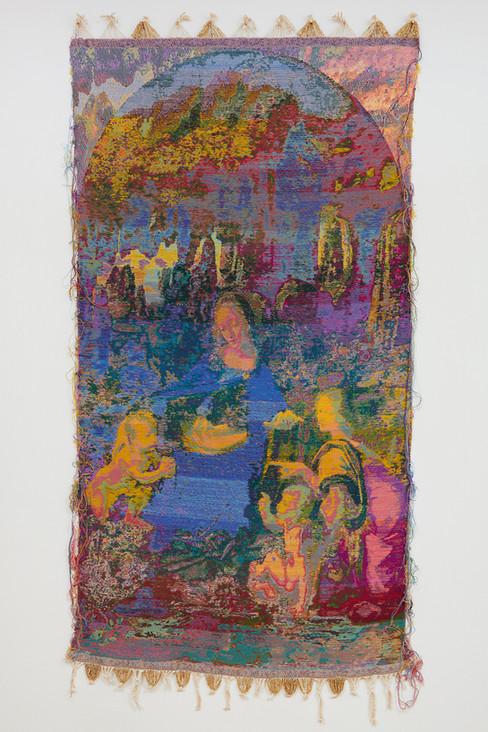 """John Paul Morabito Vergine delle rocce (dopo Leonardo da Vinci) 2019 Cotton, wool, glass beads, gilded masonry nails 85""""x 41"""""""