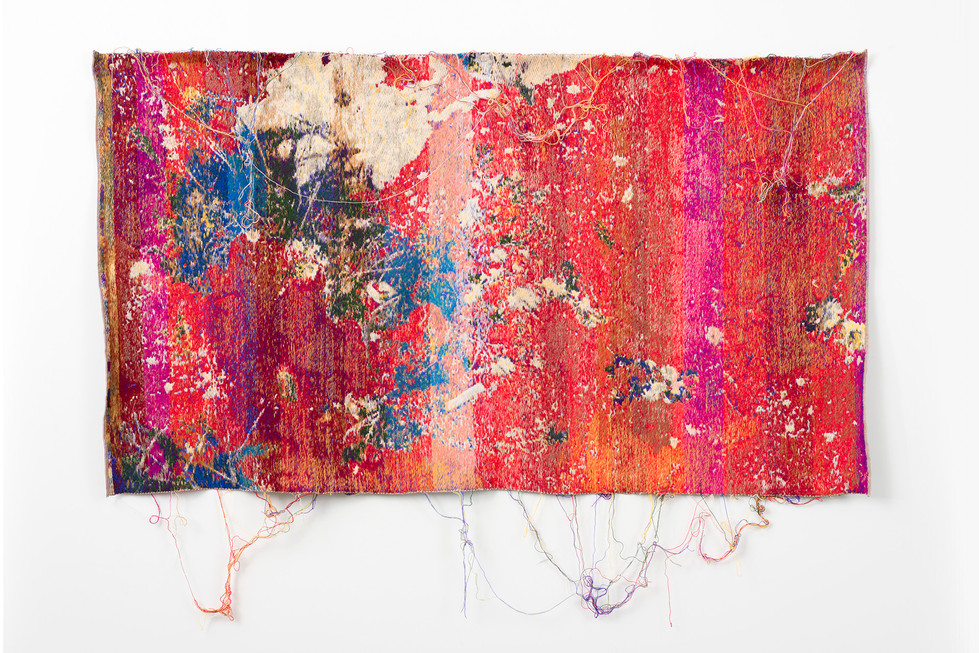 "Laura Letinsky and John Paul Morabito vereVereAslipFlowers&haneemoon(payforthelie) 2016 cotton and wool  41""x 71"""