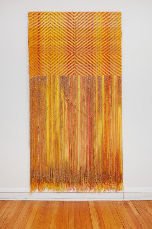 "John Paul Morabito For Félix (yellow like sorrow) 2021 Cotton and glass beads 88"" x 45"""