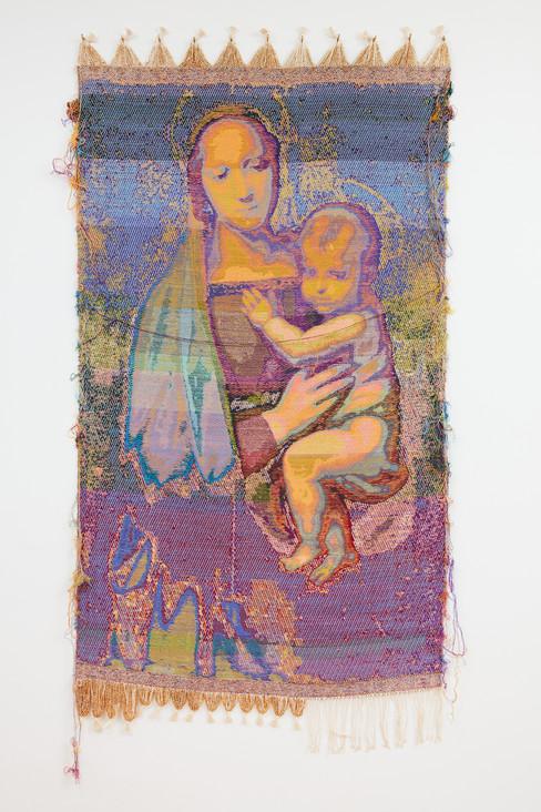 """John Paul Morabito La Madonna del Granduca (dopo Raffaello Sanzio da Urbino) 2020 Cotton, wool, glass beads, gilded masonry nails 78""""x 41"""""""