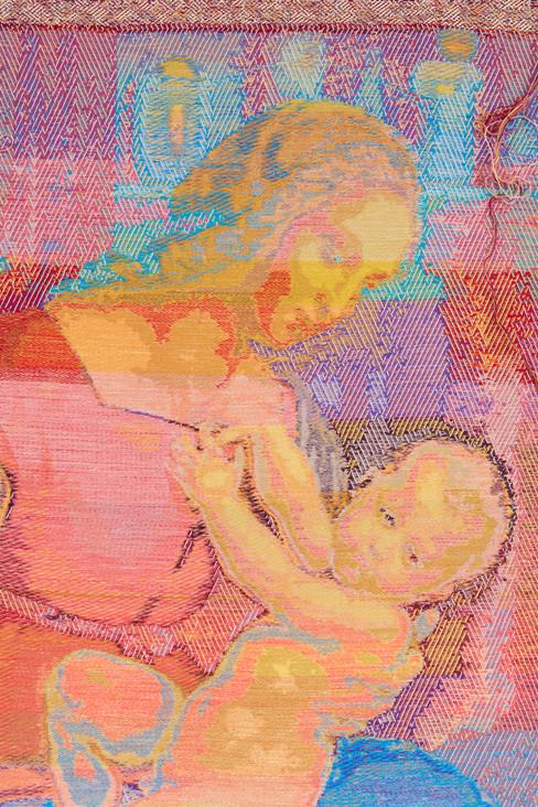 """John Paul Morabito La Madonna si appoggia (dopo Raffaello Sanzio da Urbino) 2020 Cotton, wool, glass beads, gilded masonry nails 72""""x 41"""""""