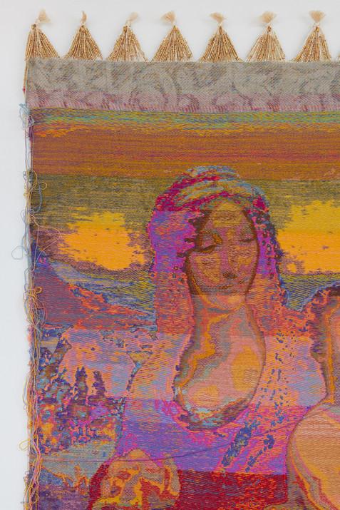 "John Paul Morabito Madonna dei fusi (dopo Leonardo da Vinci) 2019 Cotton, wool, glass beads, gilded masonry nails 81""x 42"""