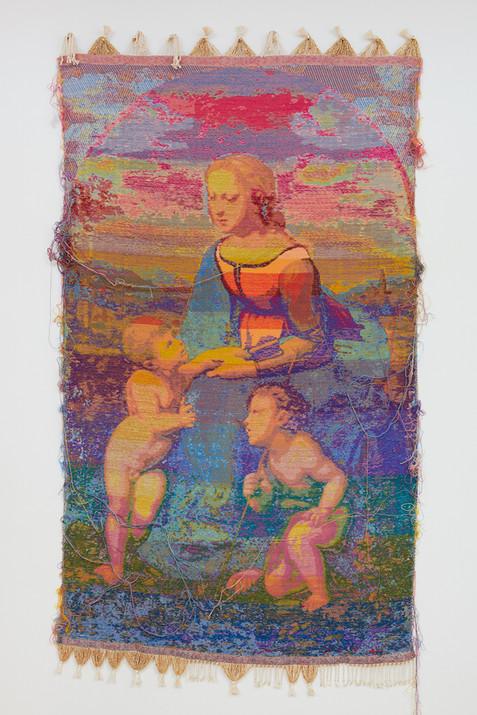 """John Paul Morabito La Bella Giardiniera (dopo Raffaello Sanzio da Urbino) 2019 Cotton, wool, glass beads, gilded masonry nails 74""""x 41"""""""
