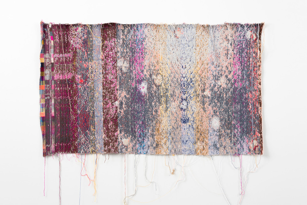 "Laura Letinsky and John Paul Morabito ta'ilsandthemuptosapaidar 2015 cotton and wool  41""x 68"""