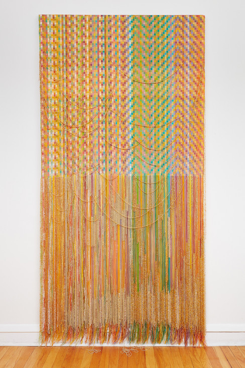 """John Paul Morabito For Félix (yellow like twilight, and then the dawn) 2021 Cotton and glass beads 90"""" x 46"""