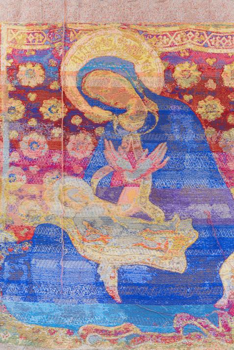 """John Paul Morabito Madonna dell'umiltà (dopo Gentile da Fabriano) 2018 Cotton, wool, glass beads, gilded masonry nails 72""""x 42"""""""