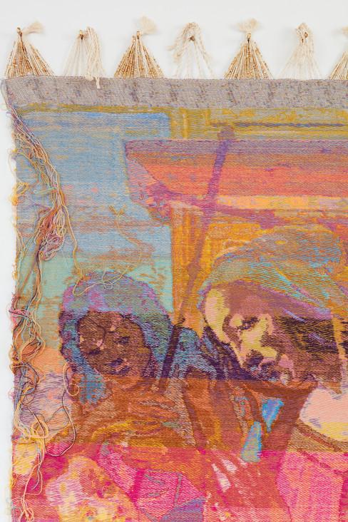 """John Paul Morabito Vergine con bambino e San Giovanni Battista (dopo Sandro Botticelli) 2020 Cotton, wool, glass beads 75""""x 41"""""""