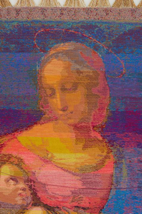 """John Paul Morabito Madonna del ponte d'acqua (dopo Raffaello Sanzio da Urbino) 2019 Cotton, wool, glass beads, gilded masonry nails 79""""x 41"""""""