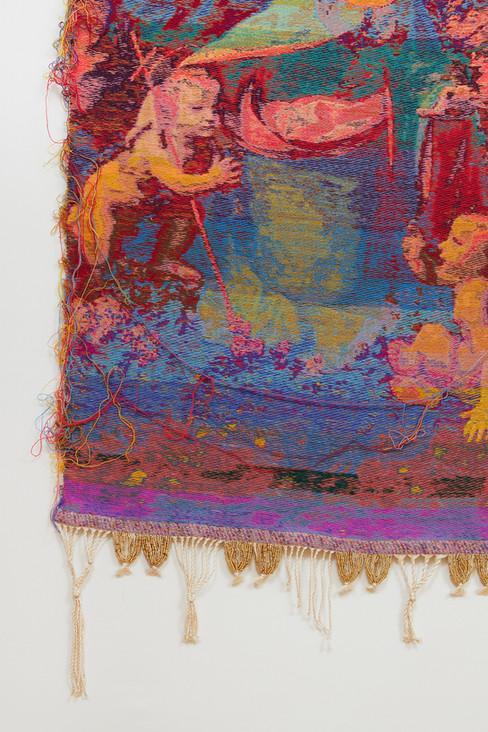 """John Paul Morabito Madonna delle rocce (dopo Leonardo da Vinci) 2019 Cotton, wool, glass beads, gilded masonry nails 82""""x 41"""""""