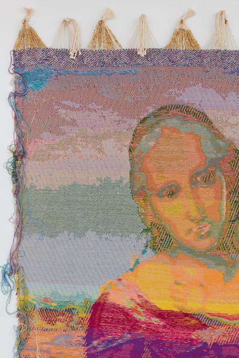 """John Paul Morabito La piccola Madonna di rame (dopo Raffaello Sanzio da Urbino) 2019 Cotton, wool, glass beads, gilded masonry nails 79""""x 41"""""""
