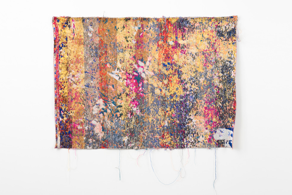 "Laura Letinsky and John Paul Morabito postnatureflowermarket(trainingUnslktaid) 2016 cotton and wool  40""x 57"""