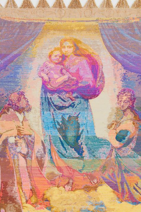 """John Paul Morabito Madonna di San Sisto (dopo Raffaello Sanzio da Urbino) 2020 Cotton, wool, glass beads 70""""x 42"""""""