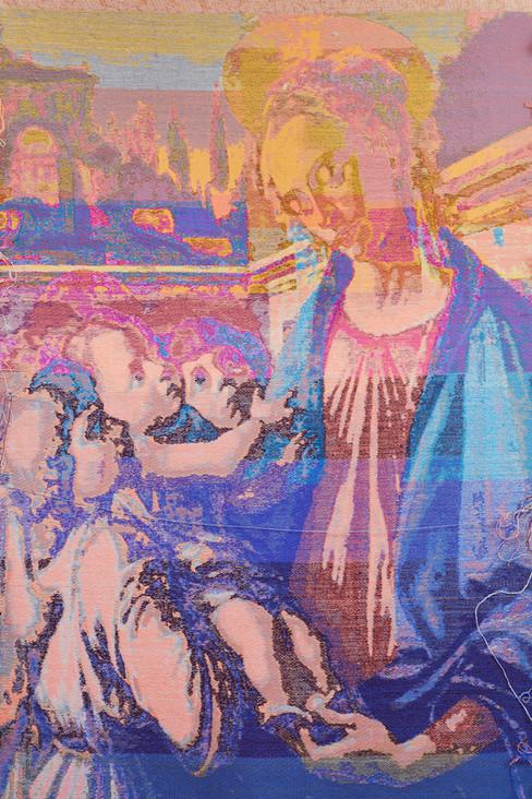 "John Paul Morabito Madonna col bambino e due angeli (dopo Sandro Botticelli) 2020 Cotton, wool, glass beads 83""x 41"""