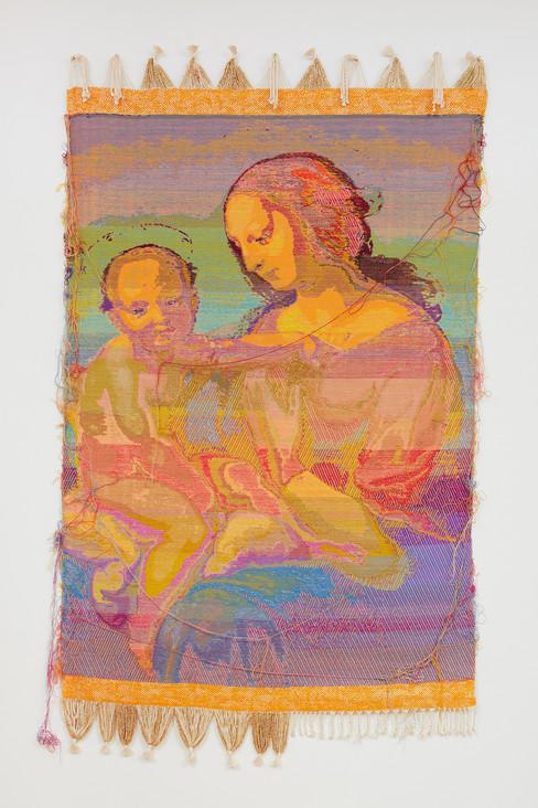 """John Paul Morabito La Madonna in rame nichelato (dopo Raffaello Sanzio da Urbino) 2019 Cotton, wool, glass beads, gilded masonry nails 70""""x 41"""""""