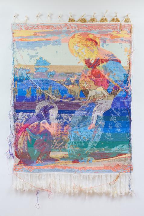 "John Paul Morabito Madonna e bambino con il bambino San Giovanni (dopo Sandro Botticelli) 2018 Cotton, wool, glass beads, gilded masonry nails 64""x 42"""