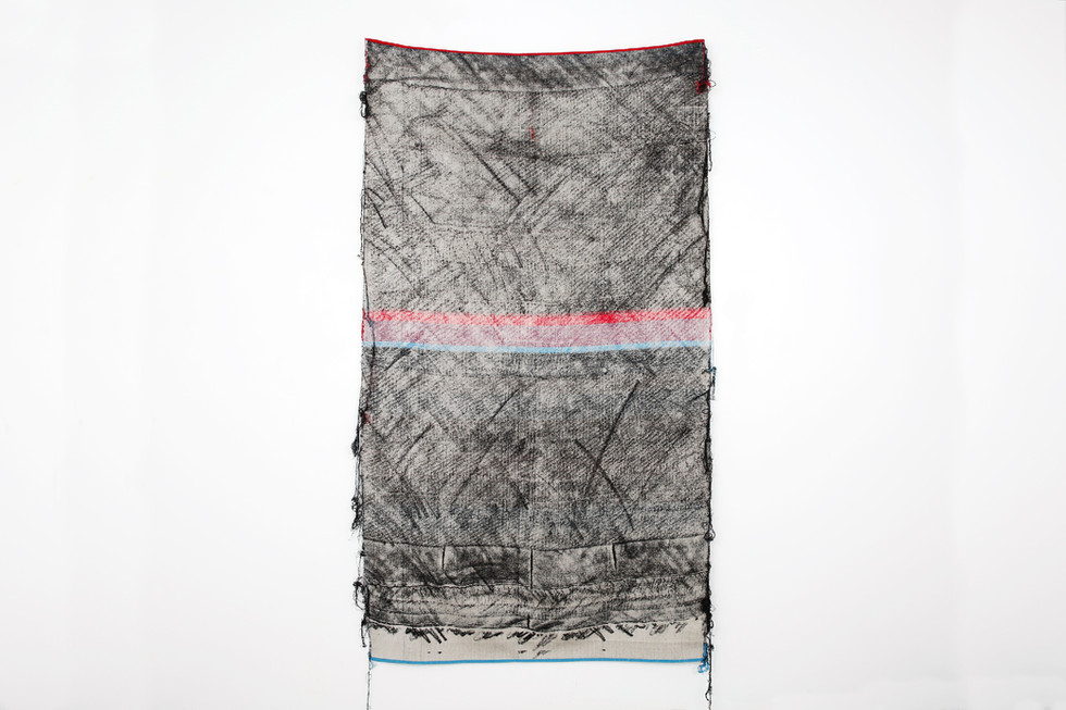 """John Paul Morabito Frottage 064 2018 cotton and wool 76""""x 43"""" Photo Credit: Alex Younger"""