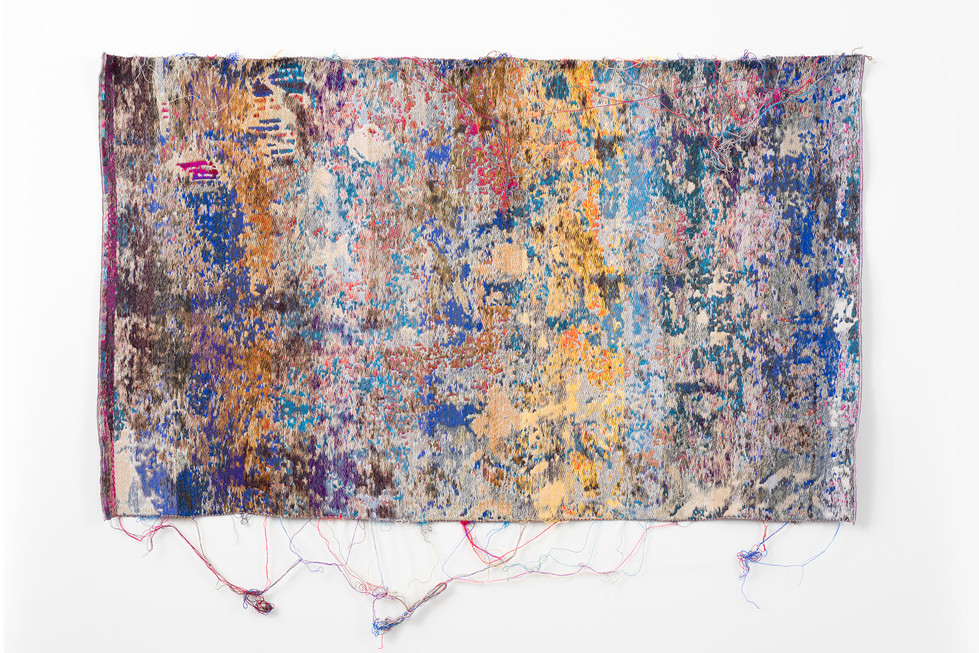 "Laura Letinsky and John Paul Morabito blukarliwhidandagz 2016 cotton and wool  40""x 67"""