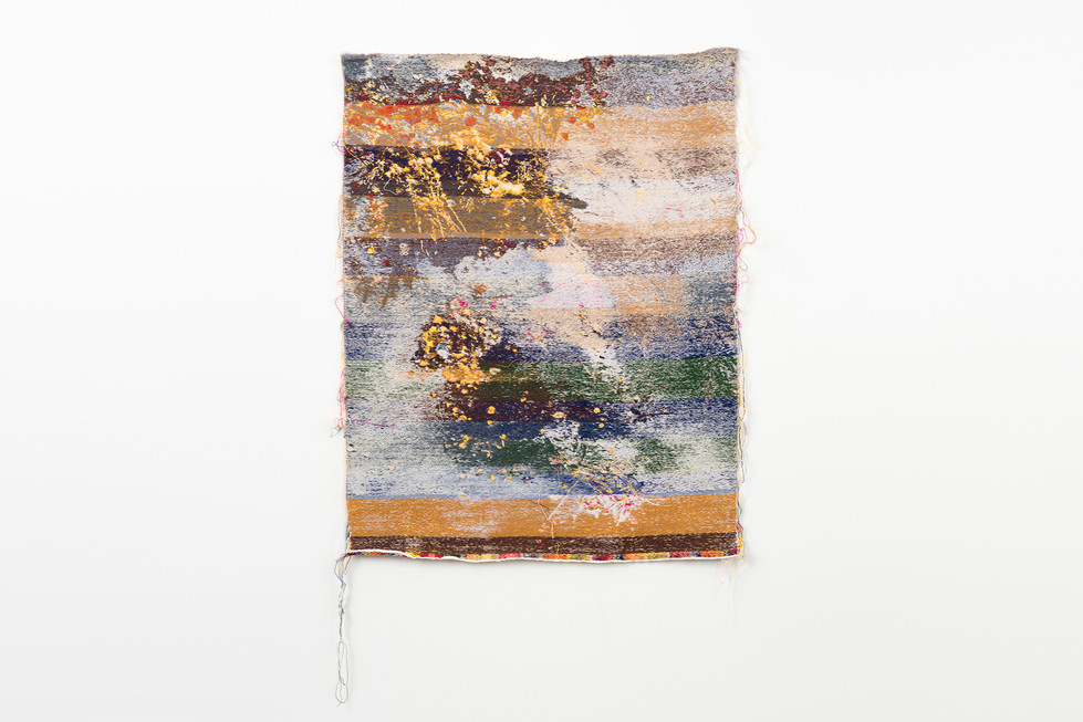 "Laura Letinsky and John Paul Morabito indiapilehamletmemajamina 2015 cotton and wool  52""x 41"""