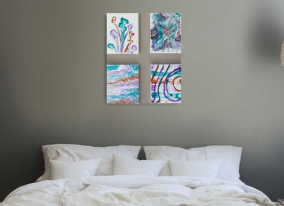 Purple Aqua and Copper Set of Paintings