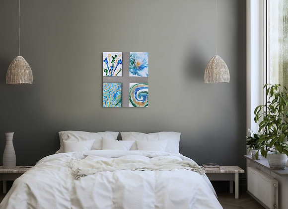 Set of Blue Green and Gold Paintings