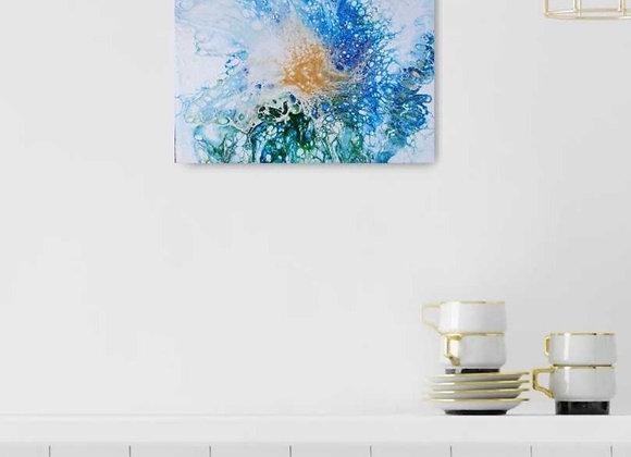 Dutch Pour Blue Flower Painting