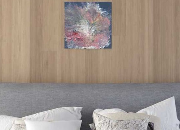 Pink Flower on Gray Wall Decor
