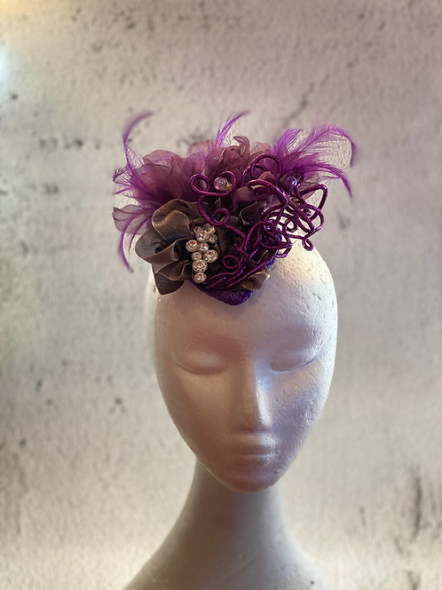 Feather flower with lace and crystals Fascinator cocktail hat