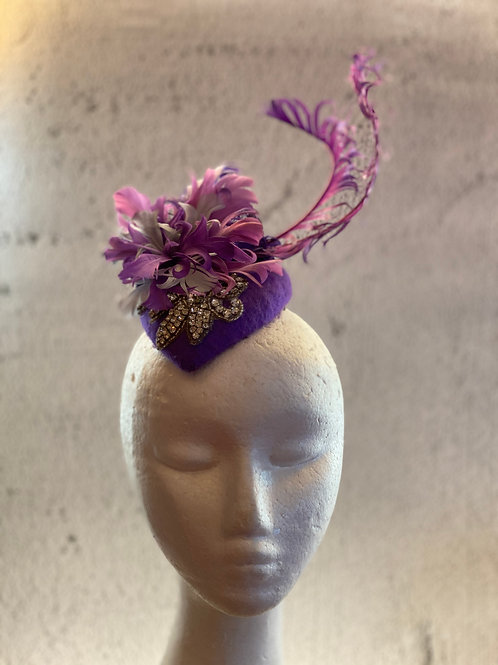 Purple Cocktail hat with Feather