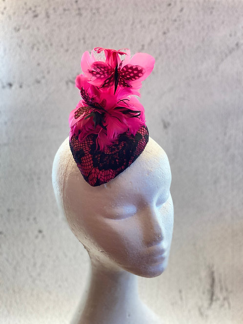 Fuchsia felt cocktail hat with lace and feather
