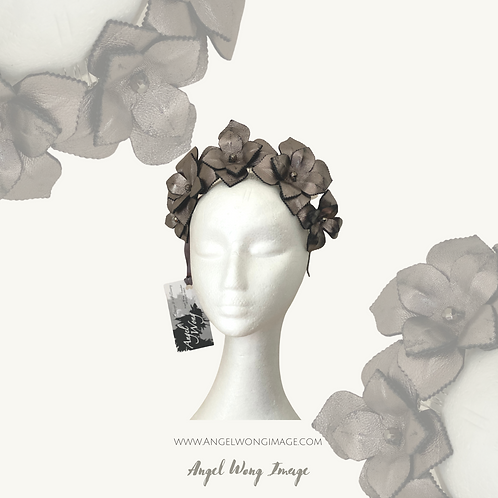 Metallic color leather flower headband