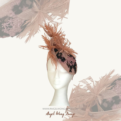 Dusty pink fascinator hat, lace hat