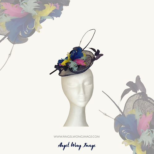 Navy blue sinamay colourful feather fascinator