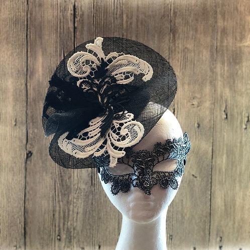 Black Sinamay Fascinator Hat