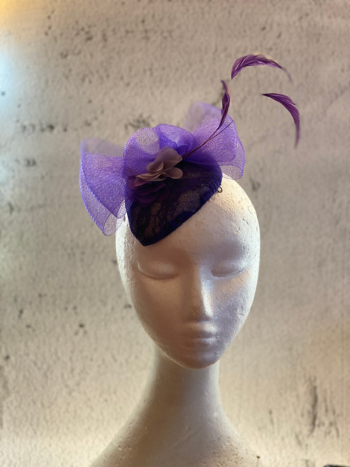 Purple felt with lace and crinoline cocktail hat, party hat, Fascinator hat